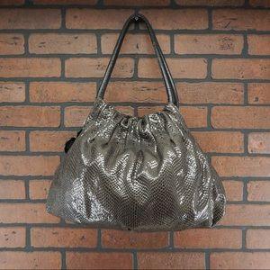 BRIGHTON Breelan Python Embossed Hobo Bag Gray
